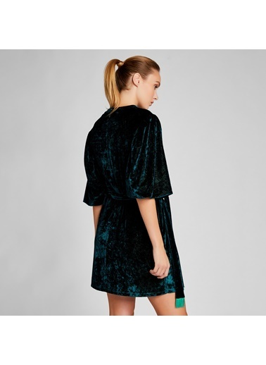 Vekem-Limited Edition Truvakar Kol Simli Kadife Elbise Yeşil